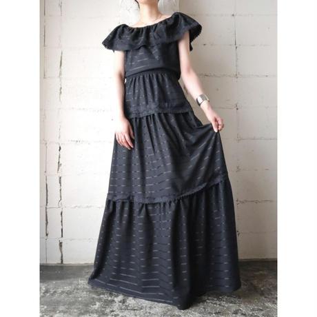 Shadow Stripe × Lace Dress BK