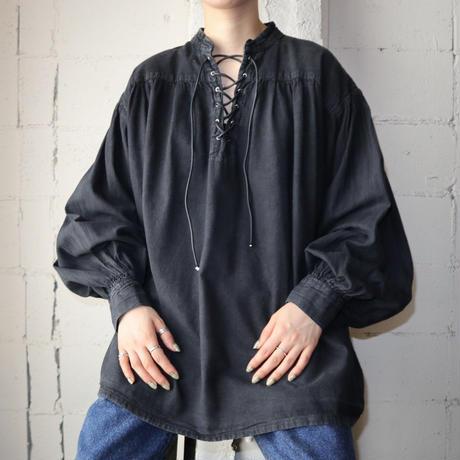 Lace Up Volume Sleeve Blouse BK