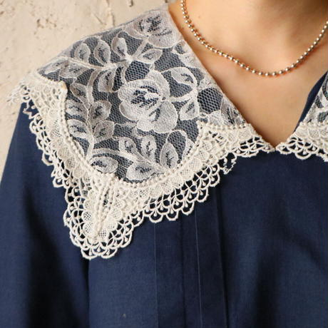Lace Collar Linen Dress BL
