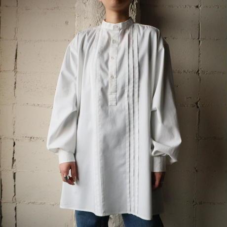 Pleated Bosom Band Collar Shirt WH
