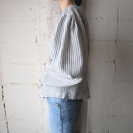 Back Lace Up Collarless Stripe Blouse NVWH
