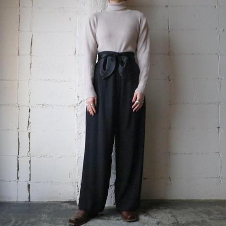 Ribbon Belt Wide Pants BK