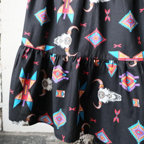Buffalo Pattern Tiared Skirt BK