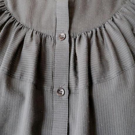 Band Collar Puff Sleeve Blouse BK
