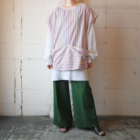 Stripe Work Apron Vest WH