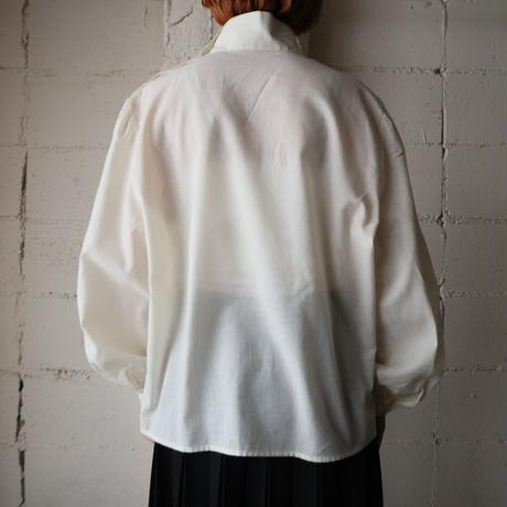 Stand Collar Tuck&Embroidery Blouse IV