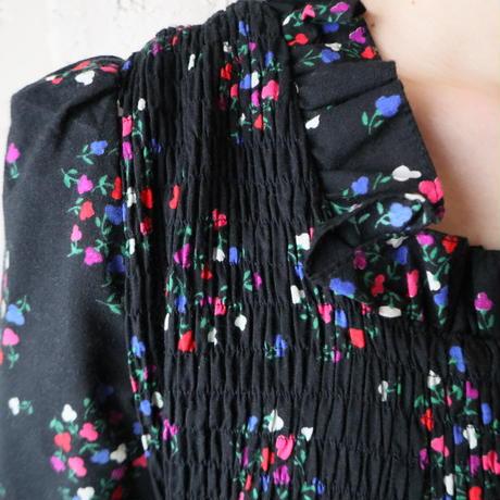 Shirring Bodice Flower Pattern Dress BK