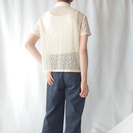 70's Seethrough Flower Pattern Blouse LBE