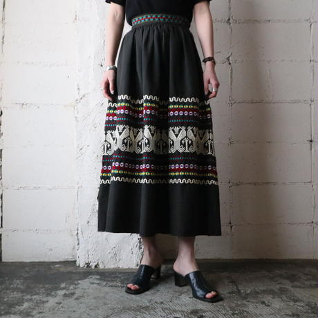 Embroidery Flared Skirt BK