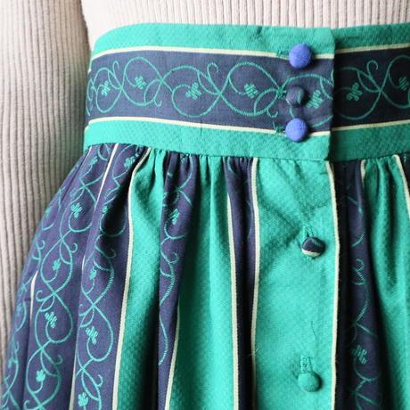 Front Button Stripe Flared Skirt GNNV