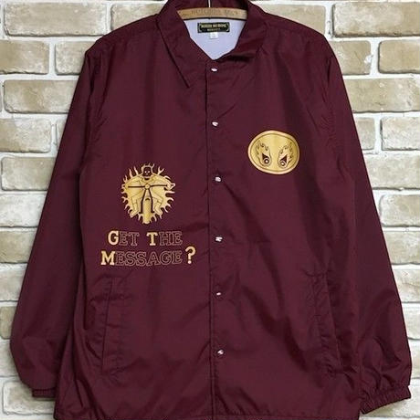 "NorthNoName(ノースノーネーム)-""GET THE MESSAGE?"" COACH JACKET(BURGUNDY)"