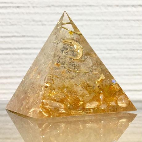 【受注製作】金運UP!ピラミッド型オルゴナイト シトリン 5 x 5 cm