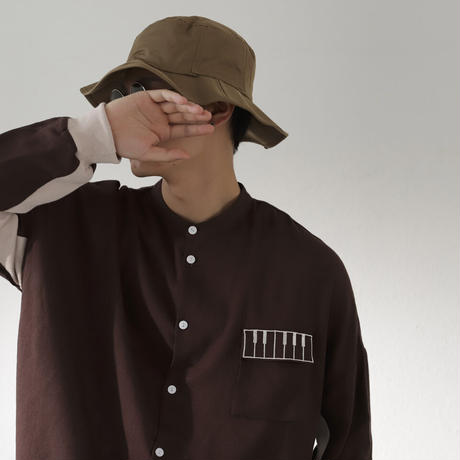 Kan Sano × antiqua - 長袖ピアノシャツ (ブラウン)