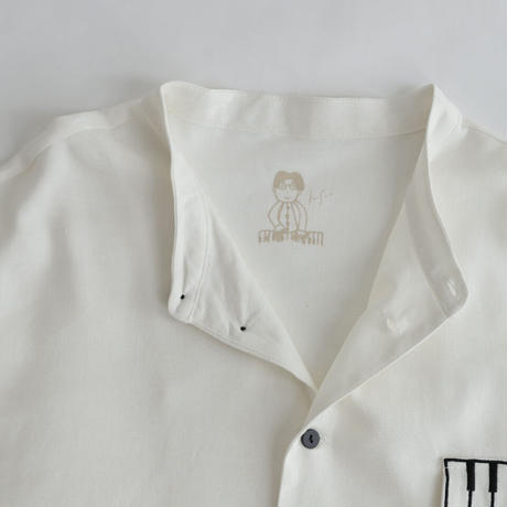 Kan Sano × antiqua - 半袖ピアノシャツ (ホワイト)