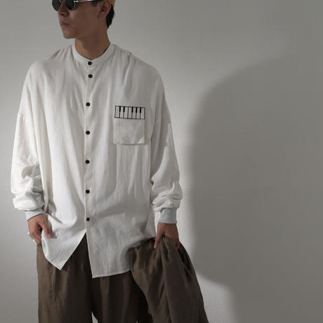 Kan Sano × antiqua - 長袖ピアノシャツ (ホワイト)