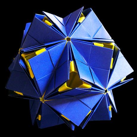 折り紙で作るくす玉の折り図「星月夜」