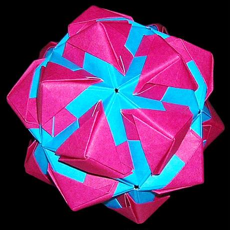 折り紙で作るくす玉の折り図「ステンドグラス アレンジ集」