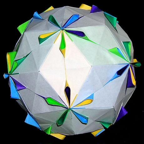 折り紙で作るくす玉の折り図「カラフルペタル & 花弁の記憶」