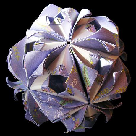 折り紙で作るくす玉の折り図「アラベスクィーンジョイント」