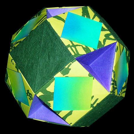 折り紙で作るくす玉の折り図「1/4 ゆにっと 基本」