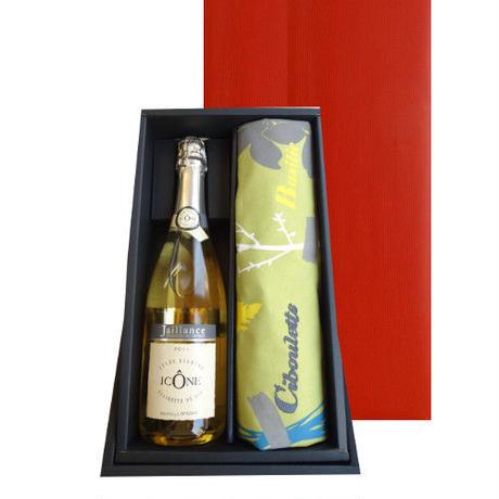 母の日ギフト ワインとエプロンのギフト コート・デュ・ローヌのスパークリングワイン「キュヴェ・イコン」 750ml と色々な種類の料理用ハーブ柄のフランスデザインのエプロン
