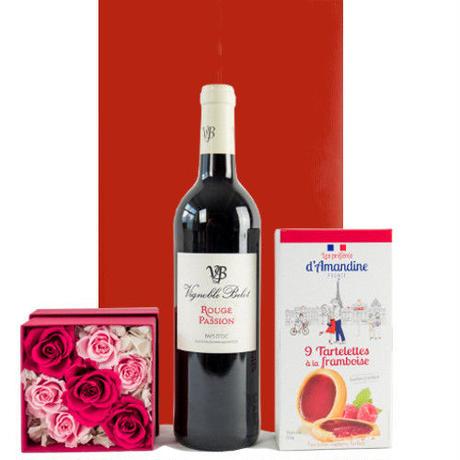母の日 お花 スイーツ ギフトセット 南フランス 赤ワイン バラ プリザーブドフラワー クッキー 詰め合わせ