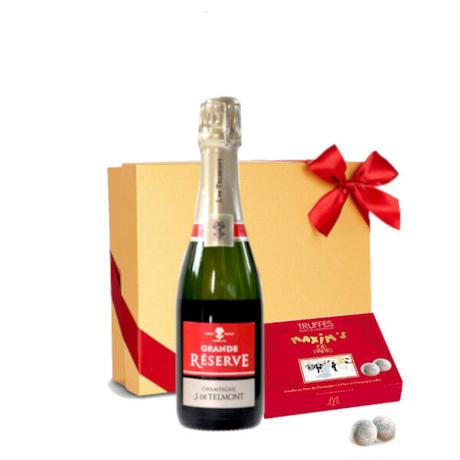 《父の日ギフト》【シャンパンとスイーツのギフト】フランス「グラン・レゼルブ・ブリュット」辛口 375mlと「マキシム・ド・パリ」シャンパントリュフチョコレート
