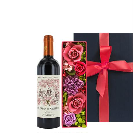 《敬老の日》【ワインとお花のギフト】フランス ボルドーの赤ワイン「バロン・ド・マレレ」375mlとピンク系プリザーブドフラワーボックス(OG35-BMPFM3)