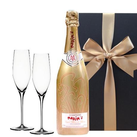 【送料無料】シャンパン シャンパングラス  ギフトセット フランス マキシム・ド・パリ シャンパーニュ ブラン・ド・ブラン ゴールド・キュヴェ 750ml ドイツ シュピゲラウ 誕生日 結婚祝い