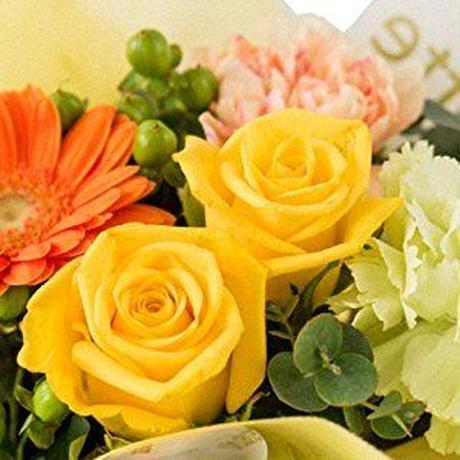 【ワインと生花のギフト】フランス ローヌのビオスパークリング750ml やや甘口 フラワーアレンジメント黄色系バラとガーベラ(OG35-300918)