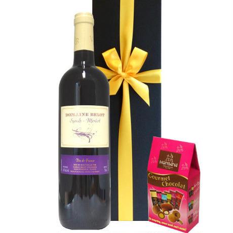 ワインとお菓子 フランス 赤ワイン シラー メルロー 750ml 3種類のアーモンドチョコレート 詰め合わせ ギフトセット お酒 スイーツ チョコ 誕生日 お礼 ラッピング付 熨斗可能