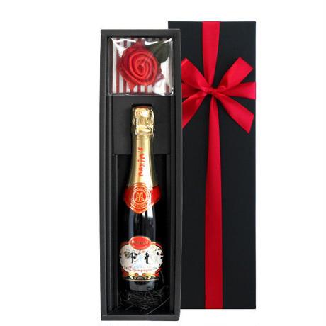 《誕生日》【シャンパンとハンカチのギフト】フランス「マキシム・ド・パリ・ブリュット」辛口 375ml ハーフボトル 赤いタオルハンカチ 誕生日 女性(OG35-YMCTHR)