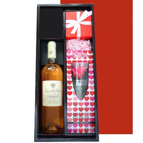 《結婚祝い》【お花とワイン、フラワーベースのセット】 フランスのロゼワイン「ル・ヴィニャレ・ロゼ」」とプリザーブドフラワーのバラの花、手作りの津軽びいどろの一輪挿し