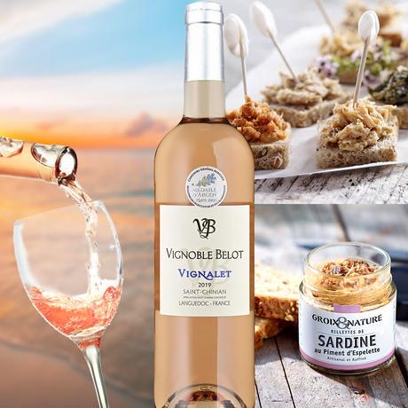 《誕生日》【ワインとグルメギフト】南フランスのロゼワイン「 ル・ヴィニャレ・ロゼ」2019年とフランス産「サーディンのリエット」(OG15-BVRGSA )