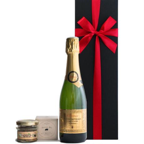 お誕生日に ワインとおつまみのセット フランス スパークリングワイン甘口 AOCクレレット・ド・ディー375ml 豚肉のパテ オリーブとハーブ風味 フランス産 45g ギフト箱入り ラッピング付き
