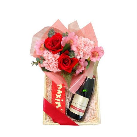 【母の日の予約商品】母の日ギフト カネーションのアレンジメント シャンパンとチョコレートのスイーツギフト