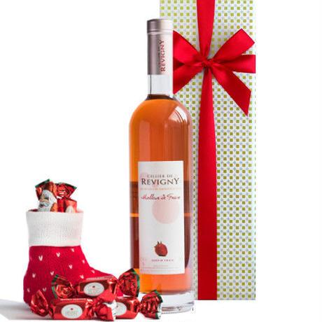 クリスマス限定 フランスイチゴ100%のフルーツワイン  クリスマスチョコレート 詰合せセット付き