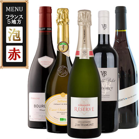 《お中元・家飲み》【ワイン5本セット】フランス BORDEAUX ワイン 赤×2本 白×1本 スパークリング×1本 シャンパン×1本 辛口(OG00-BBCDTJ)