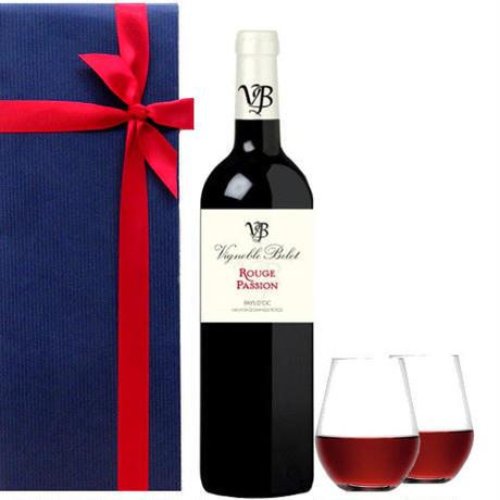 《お祝い》【赤ワインとグラスのギフト】 南フランス 「ルージュ・パッション」辛口 750ml シュピゲラウのペアタンブラー 退職祝い(OG25-410480)