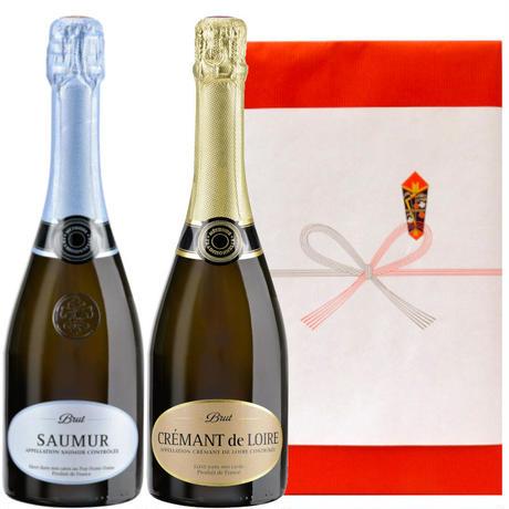 《お祝い》 スパークリングワイン 2本 セット フランス ソミュール ロワール ブリュット&クレマン・ド・ロワール・ブリュット750ml×2  のし可(OG99-JSAUCRL)