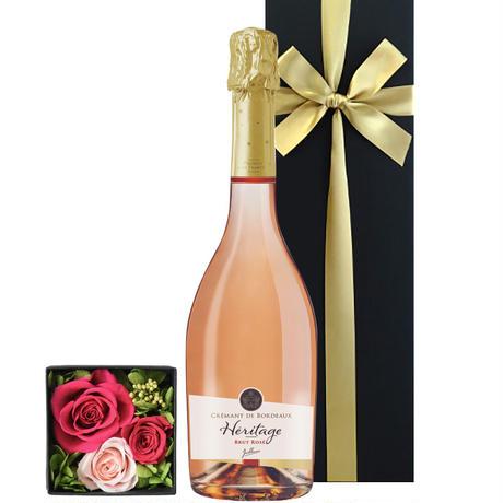 《女性へのギフト》【ワインとお花のギフト】フランスのロゼスパークリング「クレマン・ド・ボルドー キュヴェ・ド・ラベイ・ロゼ」とピンク系プリザーブドフラワー(OG35-JACARP)