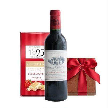 ギフト ワインとスイーツギフト ボルドー赤ワイン ハーフボトル 375ml いちごのホワイトチョコレート 板チョコ ギフト箱入りプレゼント