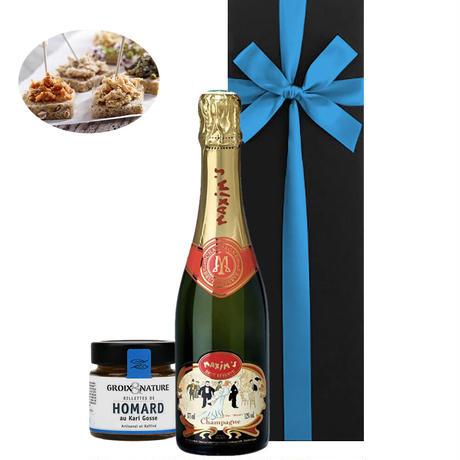 《結婚記念日》【ワインとグルメのギフト】シャンパン「マキシム・ド・パリ・ブリュット」375ml オマール海老のリエット(OG15-MPCGHO)