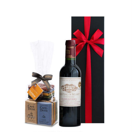 《新生活 プレゼント》【ワインとスイーツのギフト】赤ワイン フランスボルドー辛口375mlとベルギーチョコレート(OG15-FMTCTS)