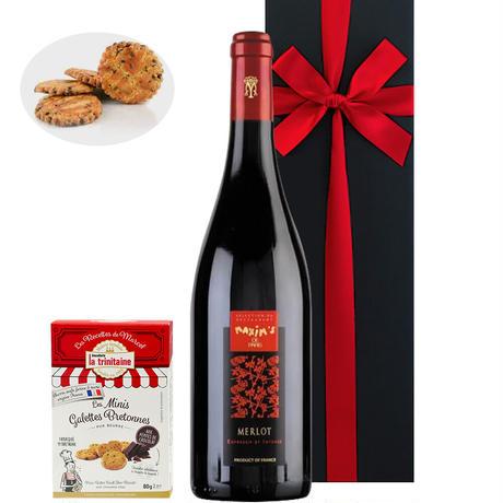 誕生日プレゼント【ワインとスイーツのギフト】有名ブランド「マキシム・ド・パリ」の赤ワイン750mlと「ラ・トリニテーヌ」ミニガレット チョコチップ(OG15-556164)