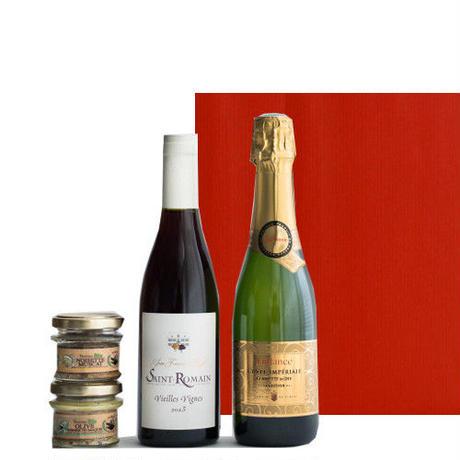 豪華なギフトセット!フランスワインとおつまみテリーヌ 詰合せ スパークリングワイン やや甘口 ブルゴーニュ赤ワイン 辛口 375ml  2種類のオーガニックのパテセット ラッピング付