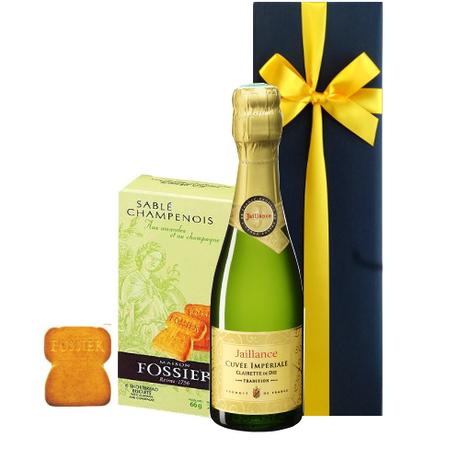 ワインとお菓子のセットギフト フランスのスパークリングワイン ミニ ボトル 375ml シャンパン風味のサブレクッキー ギフト箱入り プチギフト お礼 お返し ラッピング付 熨斗可能