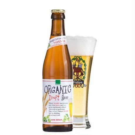 《お祝いギフト》【オーガニックビールとハンカチのギフト】フランス「ピンカス・オーガニック」 330ml とピンクのロゼタオルハンカチ