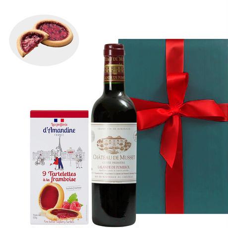 《敬老の日》【ワインとスイーツのギフト】フランス・ボルドーの赤ワイン「シャトー・ミュッセ」375ml&フランス産スイーツ「ラズベリータルトクッキー」(OG15-DFMPAR )