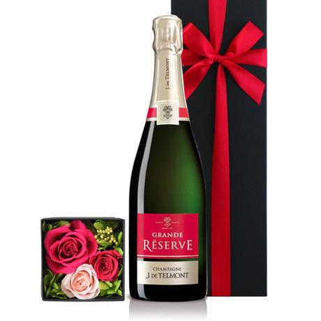 《お祝い》【シャンパンとお花のギフトセット 】フランス「グラン・レゼルブ・ブリュット」辛口 750ml プリザーブドフラワー 結婚祝い 結婚記念日 贈り物 詰め合わせ のし可(OG36-JTBPRM)